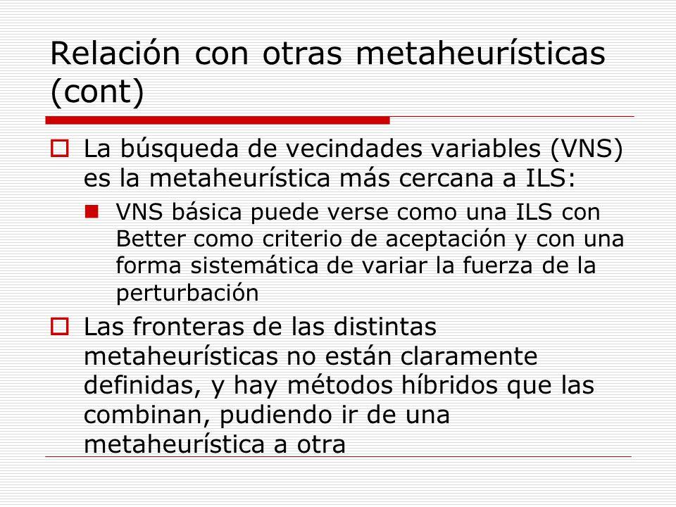 Relación con otras metaheurísticas (cont)