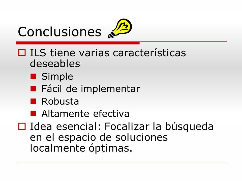 Conclusiones ILS tiene varias características deseables