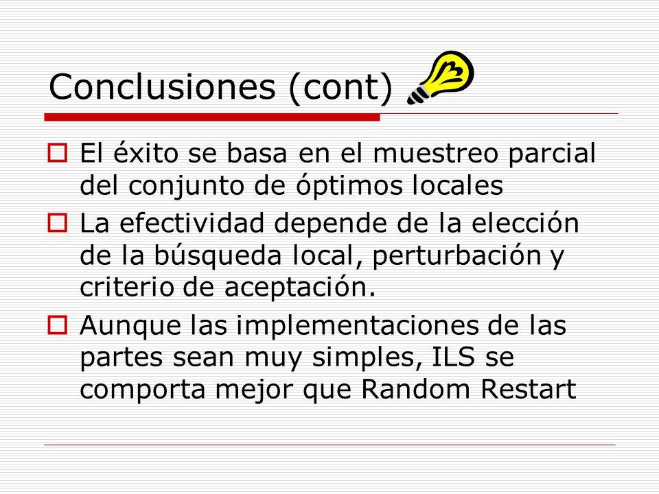 Conclusiones (cont) El éxito se basa en el muestreo parcial del conjunto de óptimos locales.