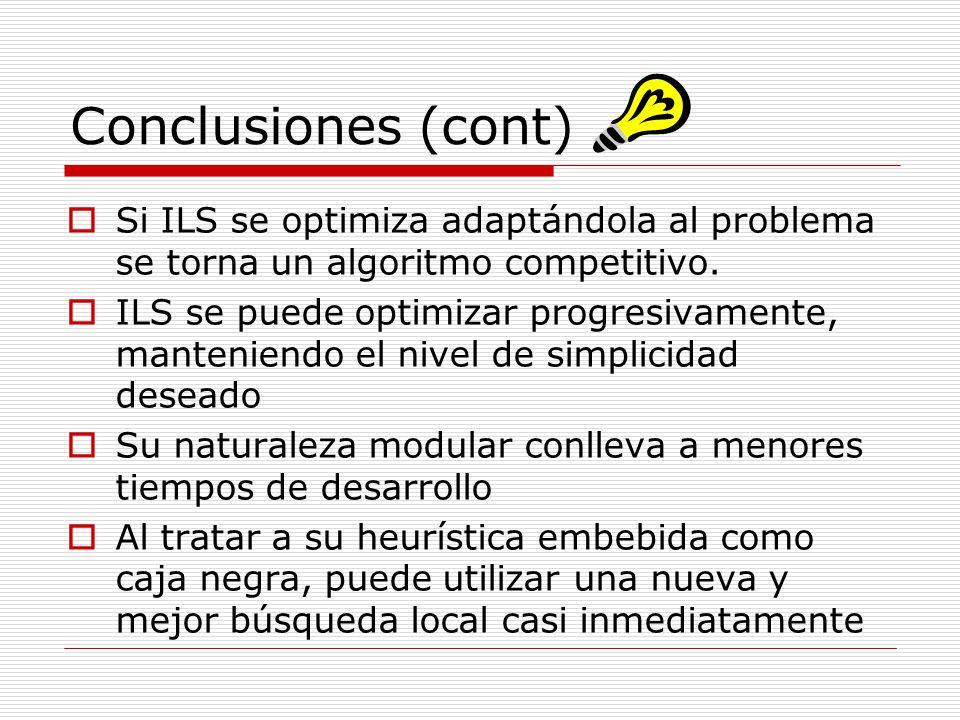 Conclusiones (cont) Si ILS se optimiza adaptándola al problema se torna un algoritmo competitivo.