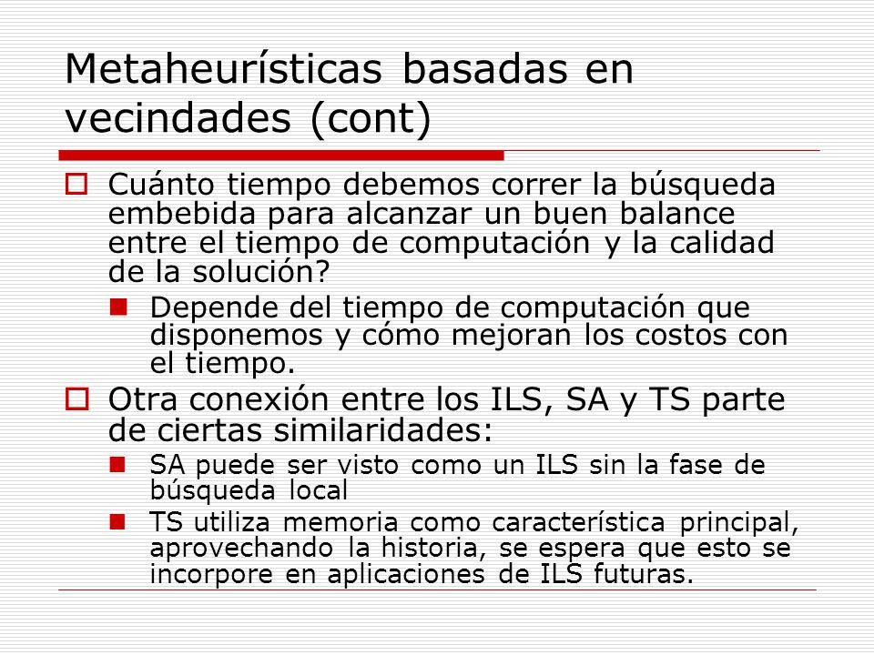Metaheurísticas basadas en vecindades (cont)