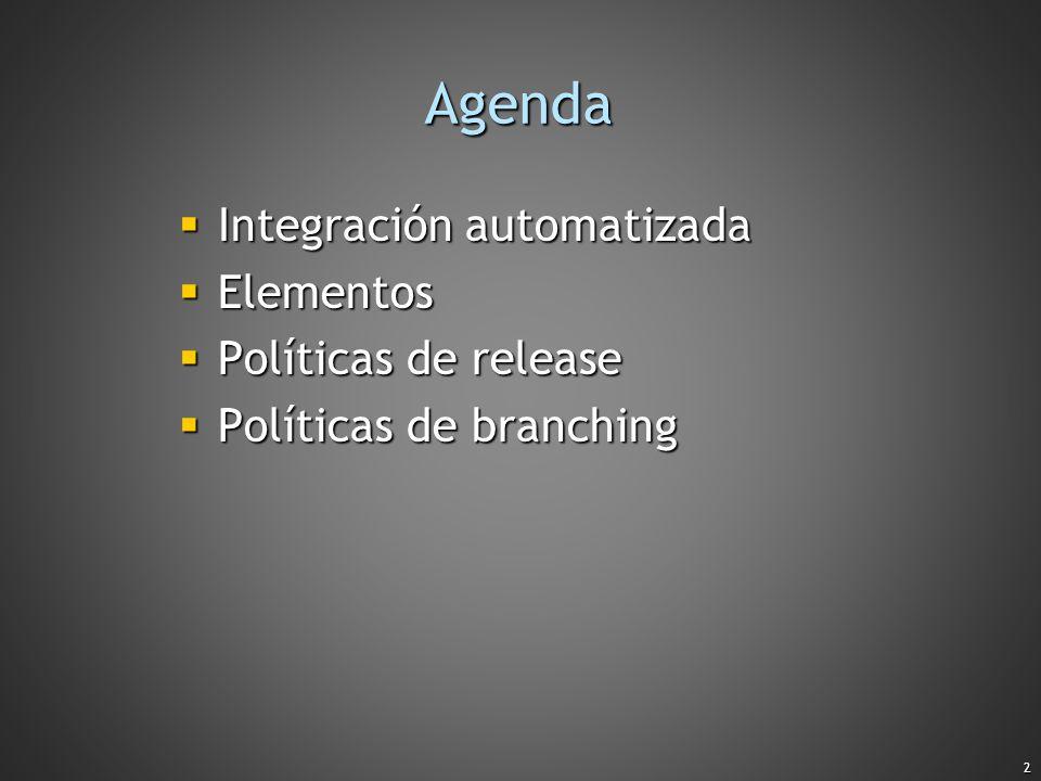 Agenda Integración automatizada Elementos Políticas de release