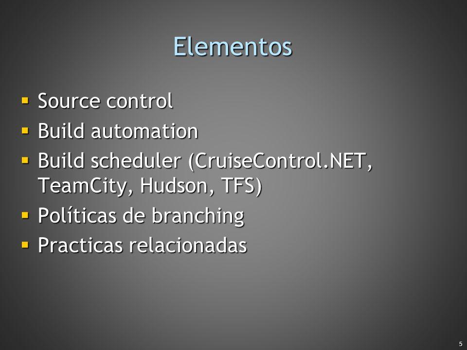 Elementos Source control Build automation