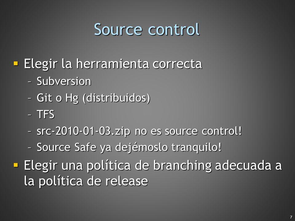 Source control Elegir la herramienta correcta