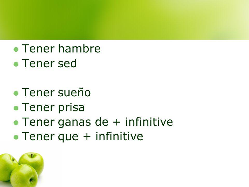 Tener hambre Tener sed Tener sueño Tener prisa Tener ganas de + infinitive Tener que + infinitive