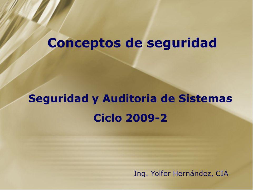 Conceptos de seguridad Seguridad y Auditoria de Sistemas Ciclo 2009-2