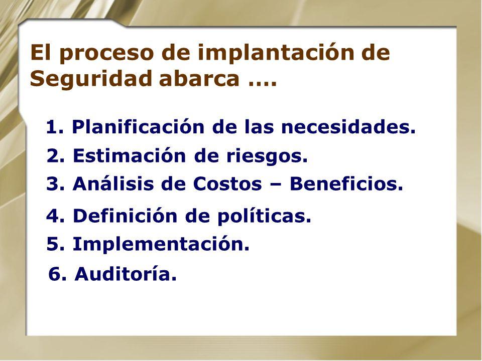 El proceso de implantación de Seguridad abarca ….