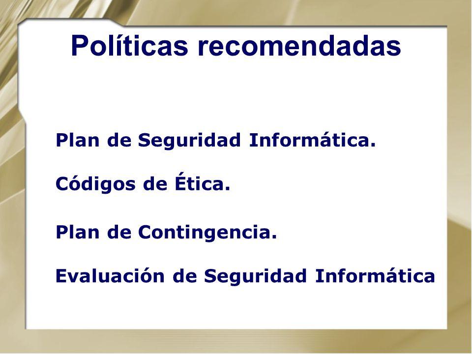 Políticas recomendadas
