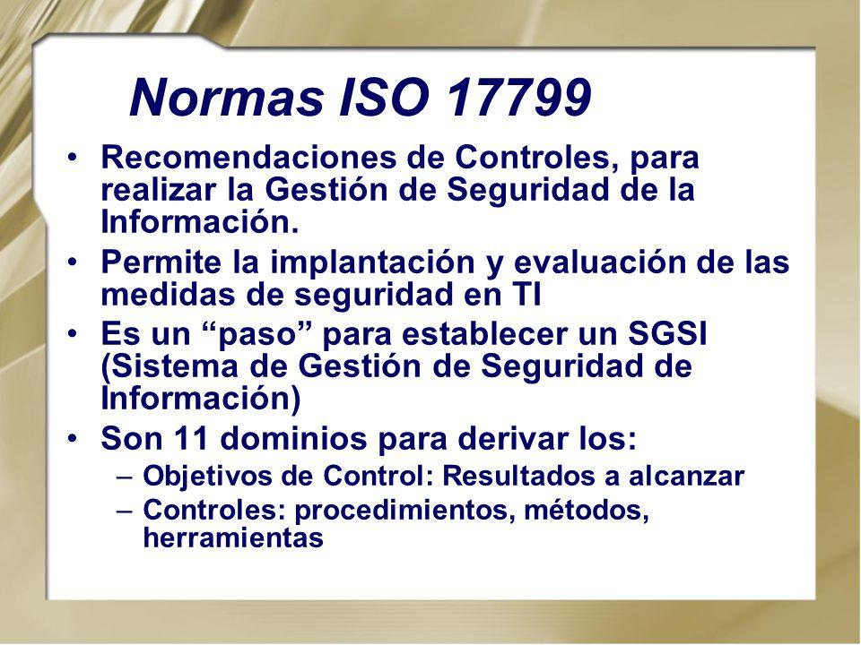 Normas ISO 17799 Recomendaciones de Controles, para realizar la Gestión de Seguridad de la Información.