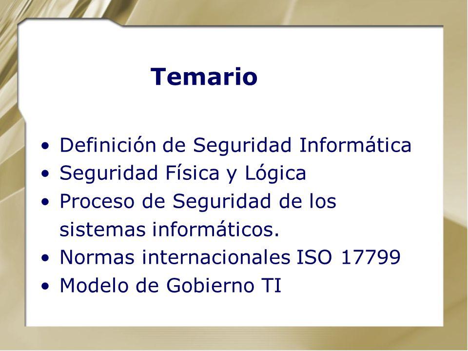 Temario Definición de Seguridad Informática Seguridad Física y Lógica