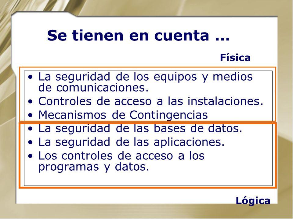 Se tienen en cuenta … Física. La seguridad de los equipos y medios de comunicaciones. Controles de acceso a las instalaciones.