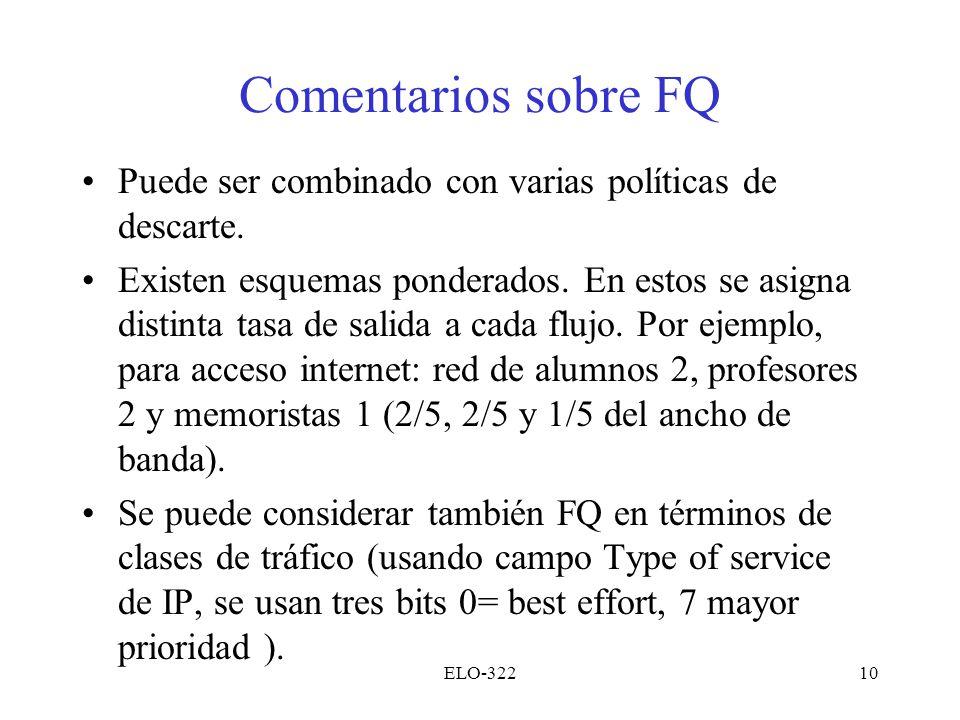 Comentarios sobre FQ Puede ser combinado con varias políticas de descarte.