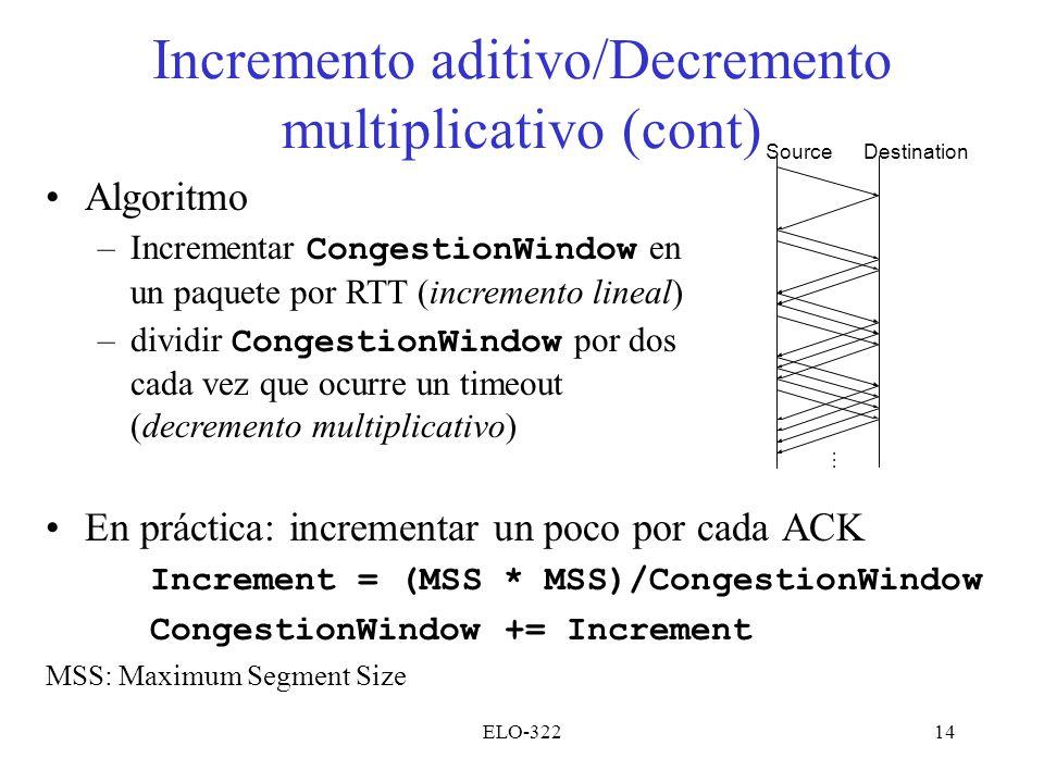 Incremento aditivo/Decremento multiplicativo (cont)