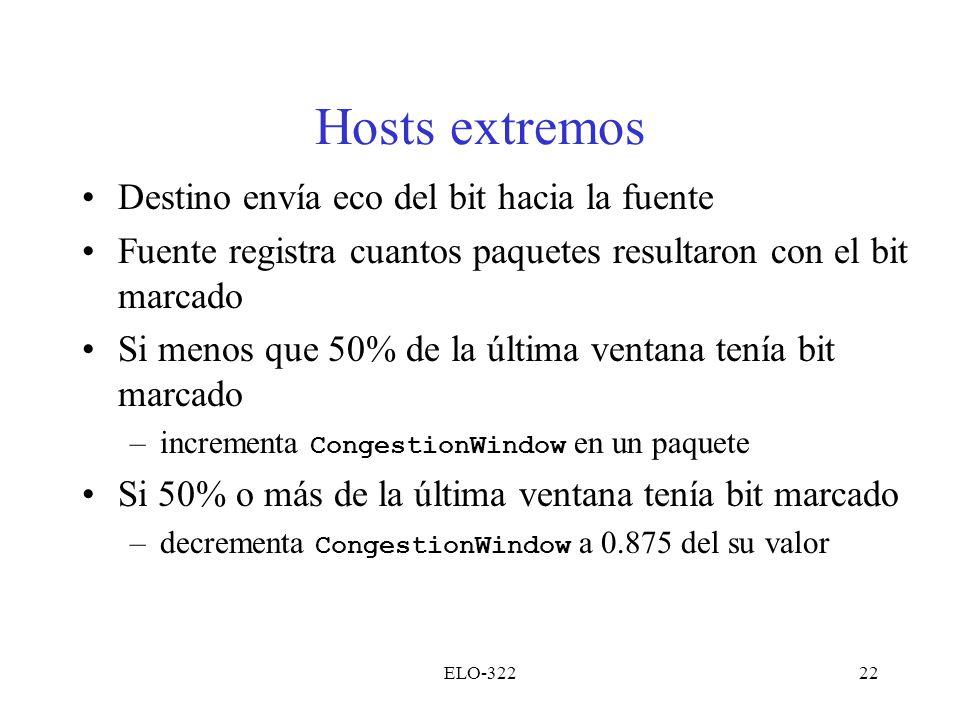 Hosts extremos Destino envía eco del bit hacia la fuente