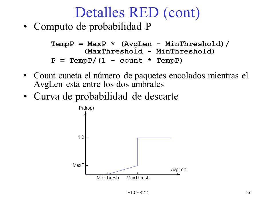 Detalles RED (cont) Computo de probabilidad P