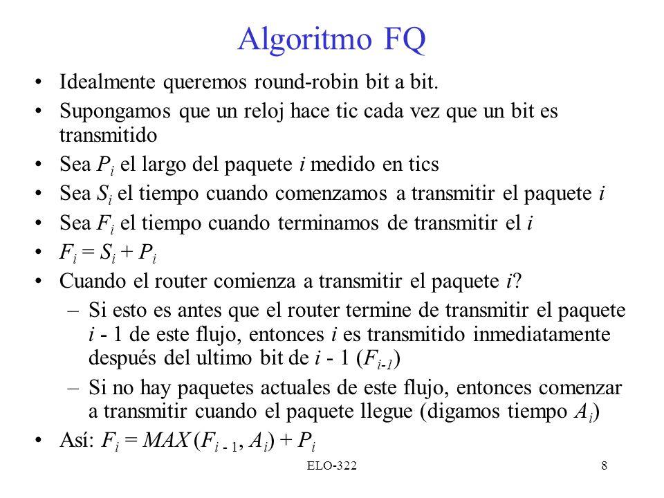 Algoritmo FQ Idealmente queremos round-robin bit a bit.