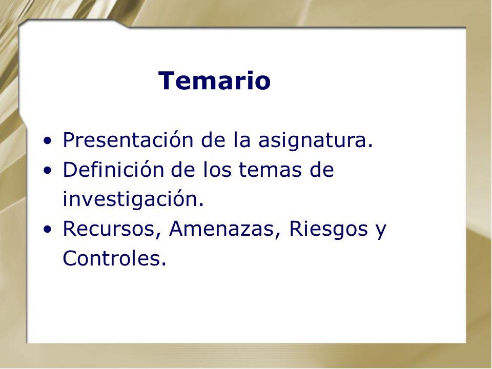 Temario Presentación de la asignatura.