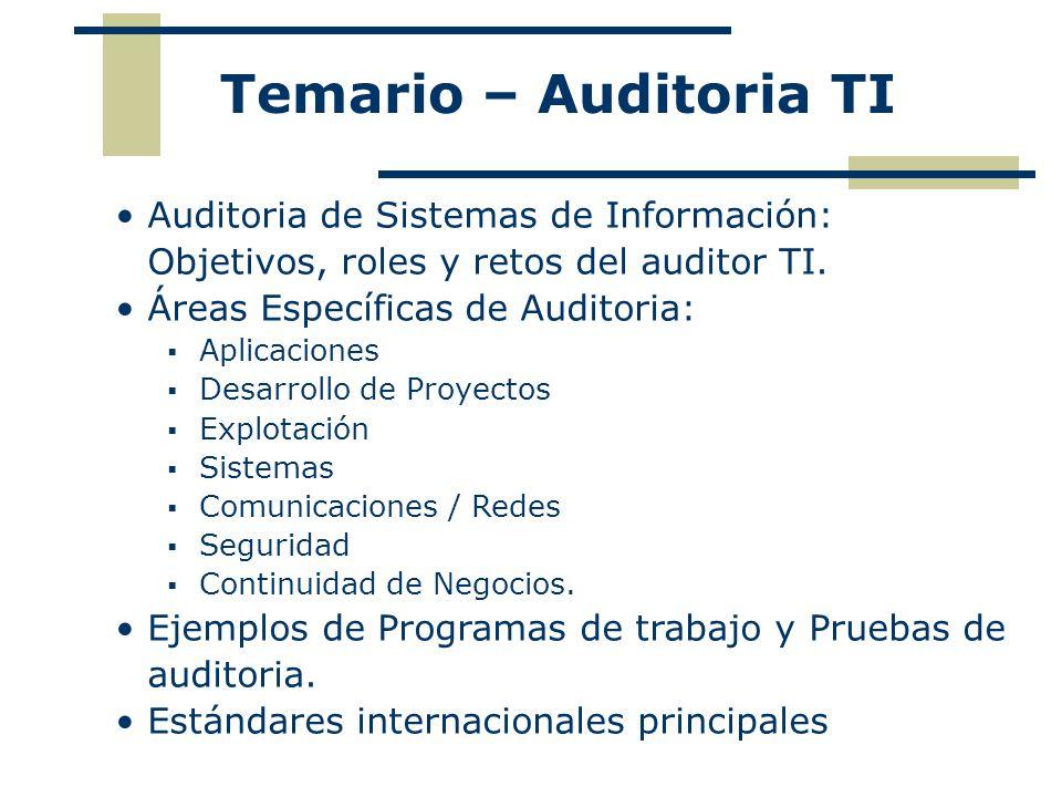 Temario – Auditoria TI Auditoria de Sistemas de Información: Objetivos, roles y retos del auditor TI.