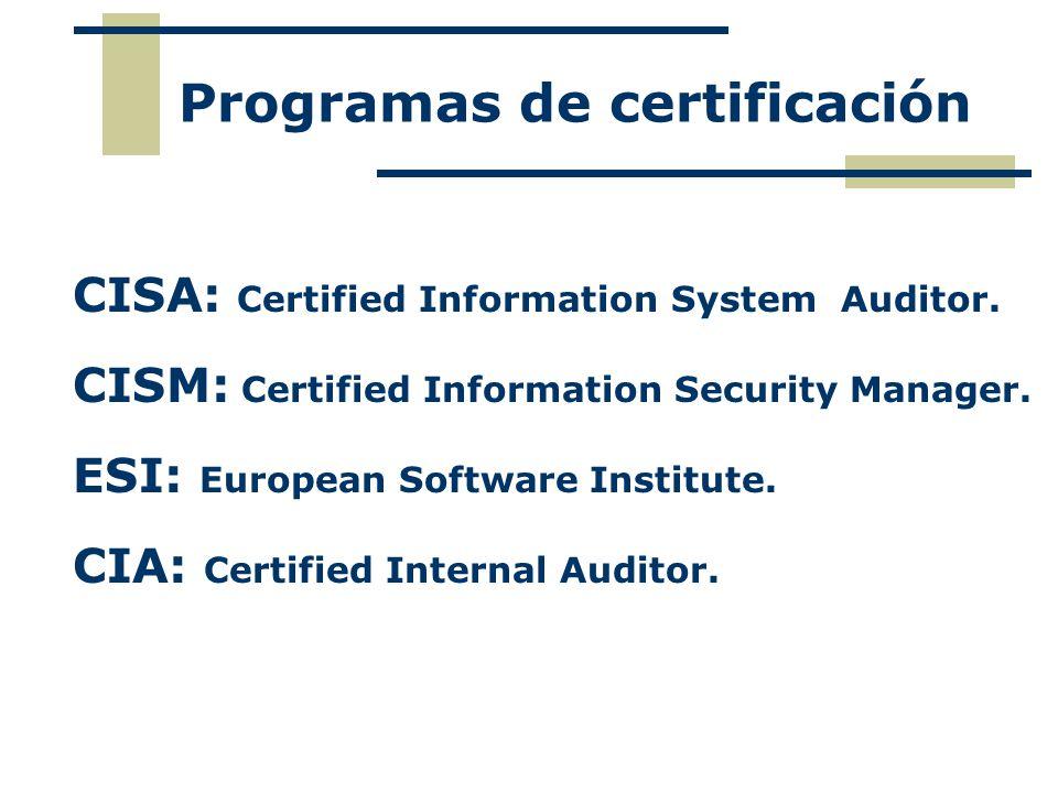 Programas de certificación