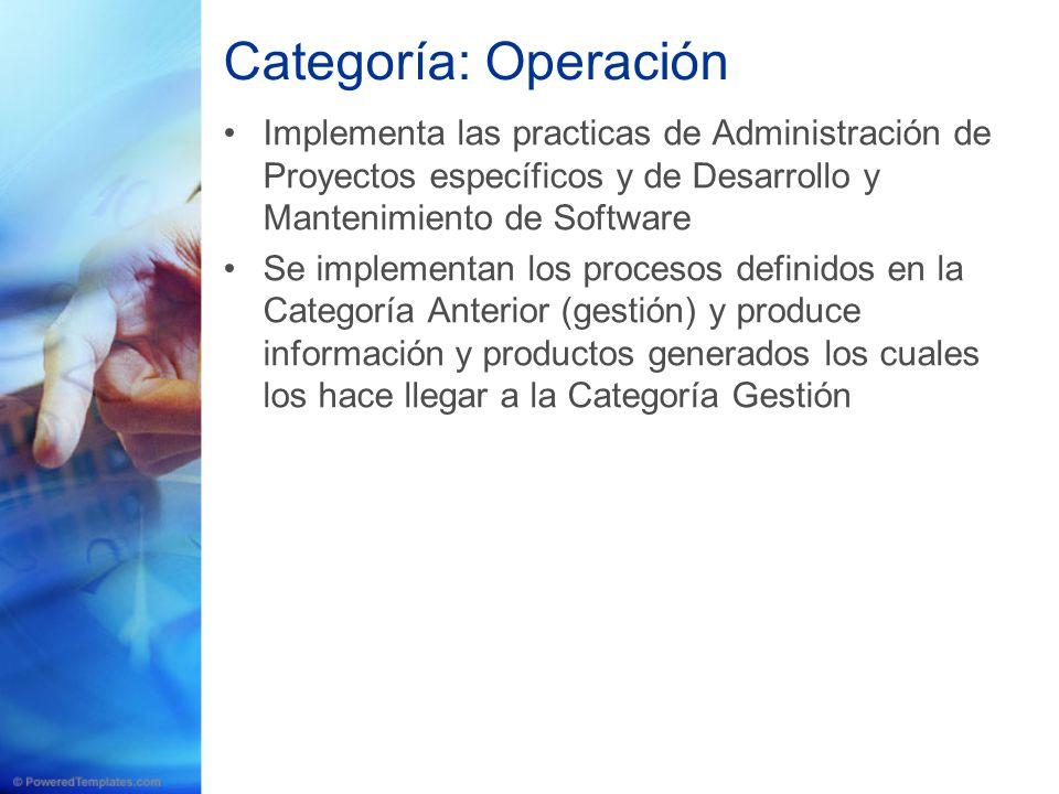 Categoría: Operación Implementa las practicas de Administración de Proyectos específicos y de Desarrollo y Mantenimiento de Software.