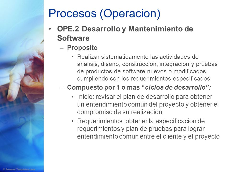 Procesos (Operacion) OPE.2 Desarrollo y Mantenimiento de Software