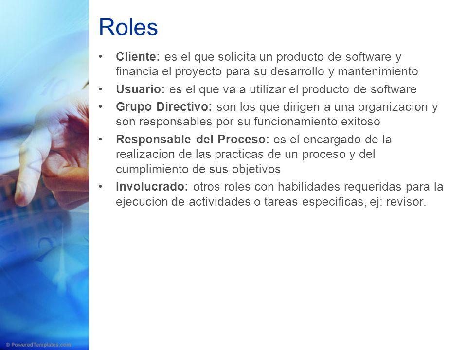 Roles Cliente: es el que solicita un producto de software y financia el proyecto para su desarrollo y mantenimiento.