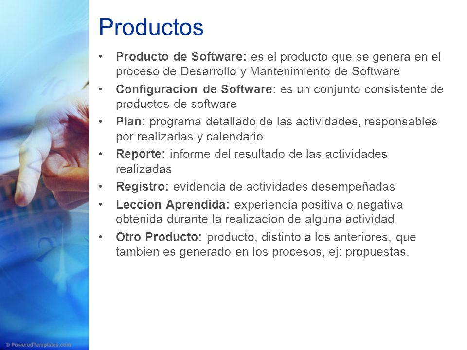 Productos Producto de Software: es el producto que se genera en el proceso de Desarrollo y Mantenimiento de Software.