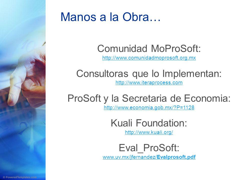 Manos a la Obra… Comunidad MoProSoft: Consultoras que lo Implementan: