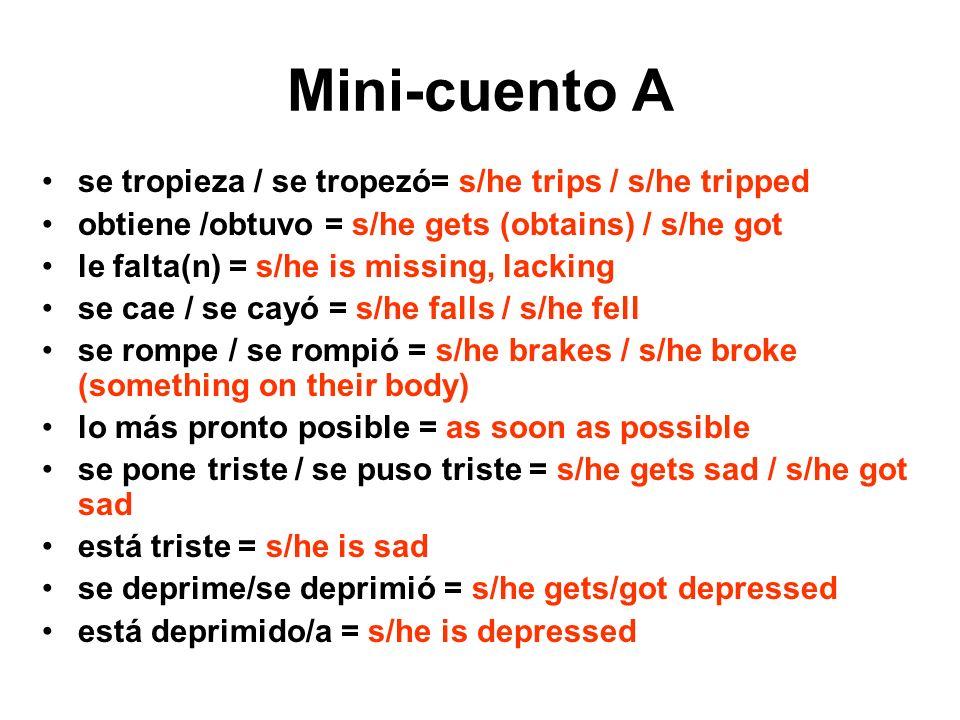 Mini-cuento A se tropieza / se tropezó= s/he trips / s/he tripped