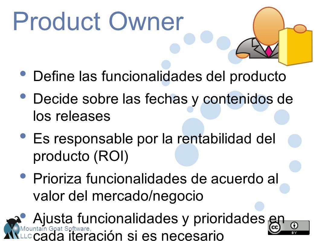 Product Owner Define las funcionalidades del producto