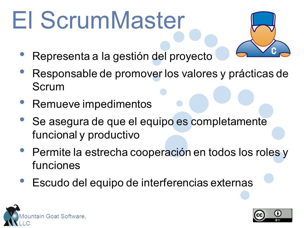 El ScrumMaster Representa a la gestión del proyecto