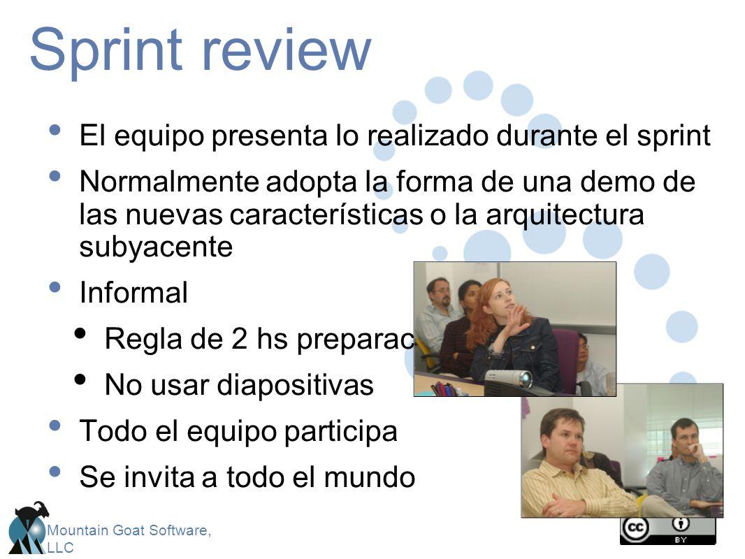 Sprint review El equipo presenta lo realizado durante el sprint