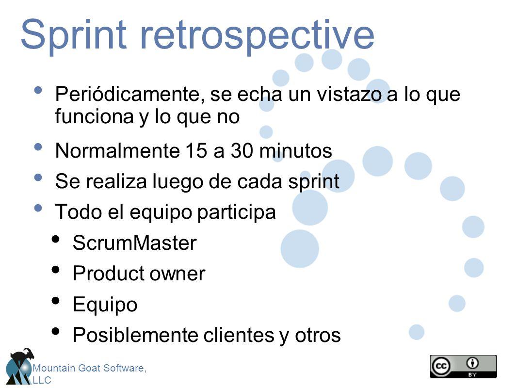 Sprint retrospective Periódicamente, se echa un vistazo a lo que funciona y lo que no. Normalmente 15 a 30 minutos.