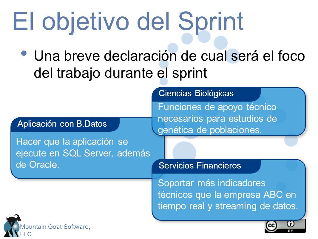 El objetivo del Sprint Una breve declaración de cual será el foco del trabajo durante el sprint. Ciencias Biológicas.