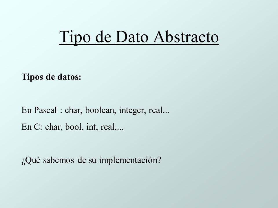 Tipo de Dato Abstracto Tipos de datos:
