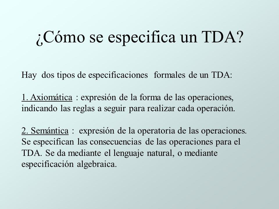 ¿Cómo se especifica un TDA