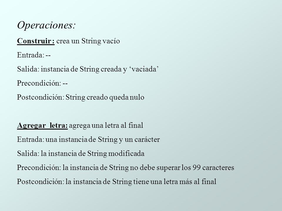 Operaciones: Construir : crea un String vacío Entrada: --