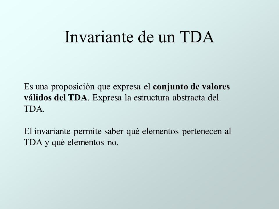 Invariante de un TDA Es una proposición que expresa el conjunto de valores válidos del TDA. Expresa la estructura abstracta del TDA.