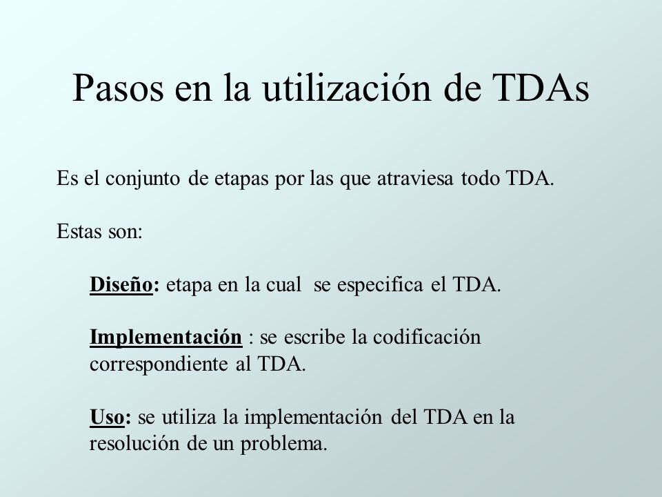 Pasos en la utilización de TDAs