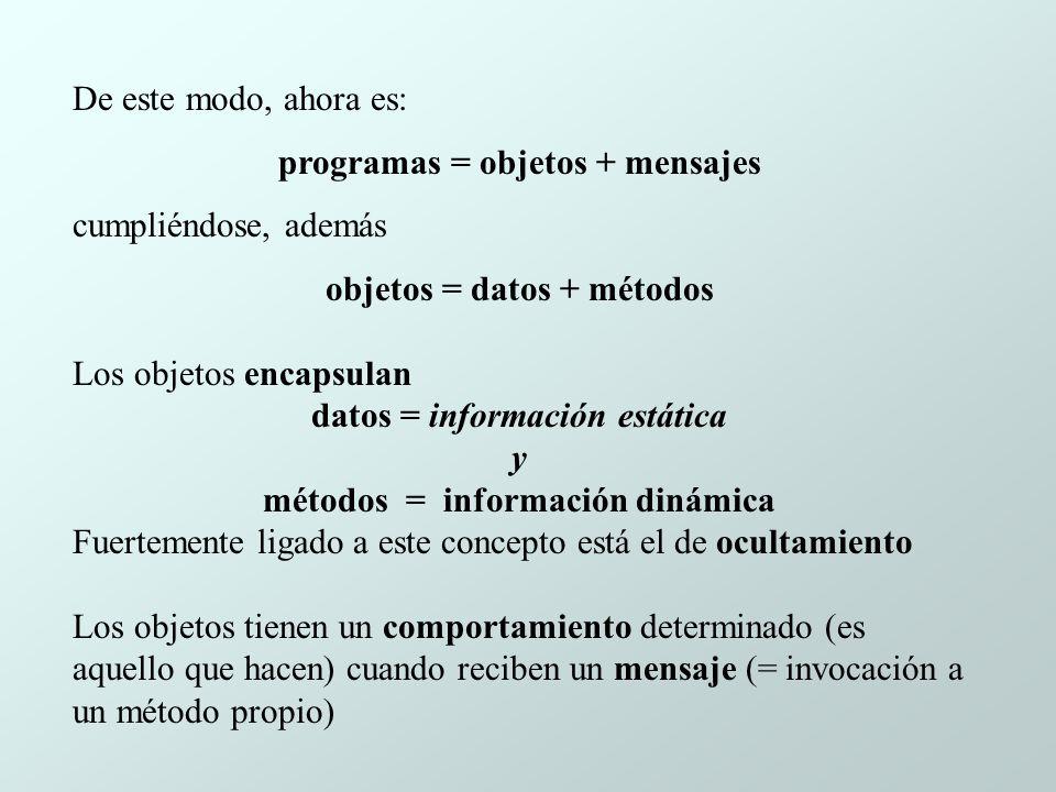programas = objetos + mensajes cumpliéndose, además