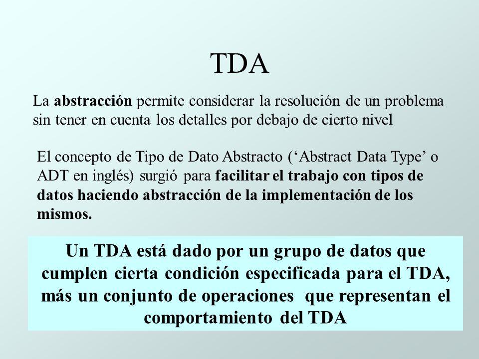 TDA La abstracción permite considerar la resolución de un problema sin tener en cuenta los detalles por debajo de cierto nivel.