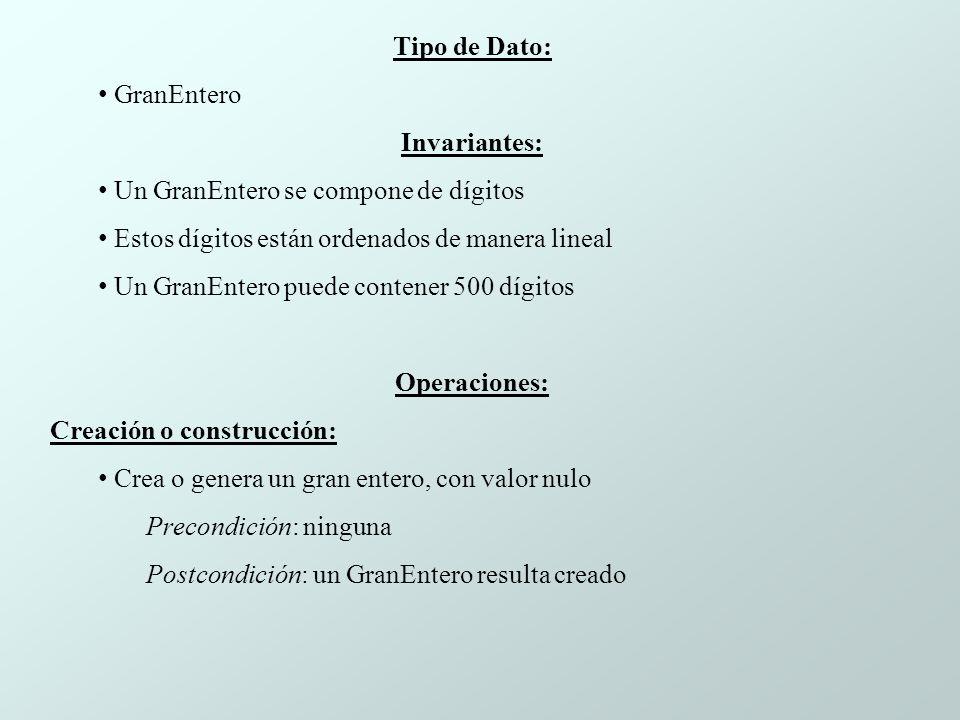 Tipo de Dato: GranEntero. Invariantes: Un GranEntero se compone de dígitos. Estos dígitos están ordenados de manera lineal.