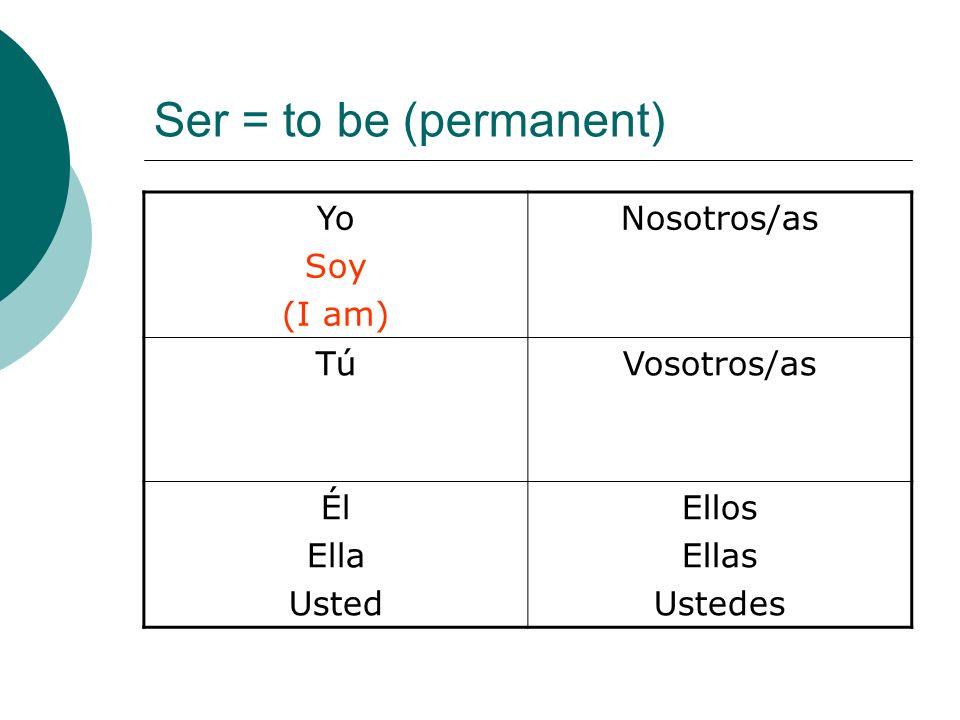 Ser = to be (permanent) Yo Soy (I am) Nosotros/as Tú Vosotros/as Él