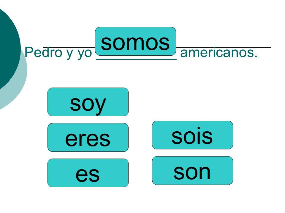 Pedro y yo __________ americanos.