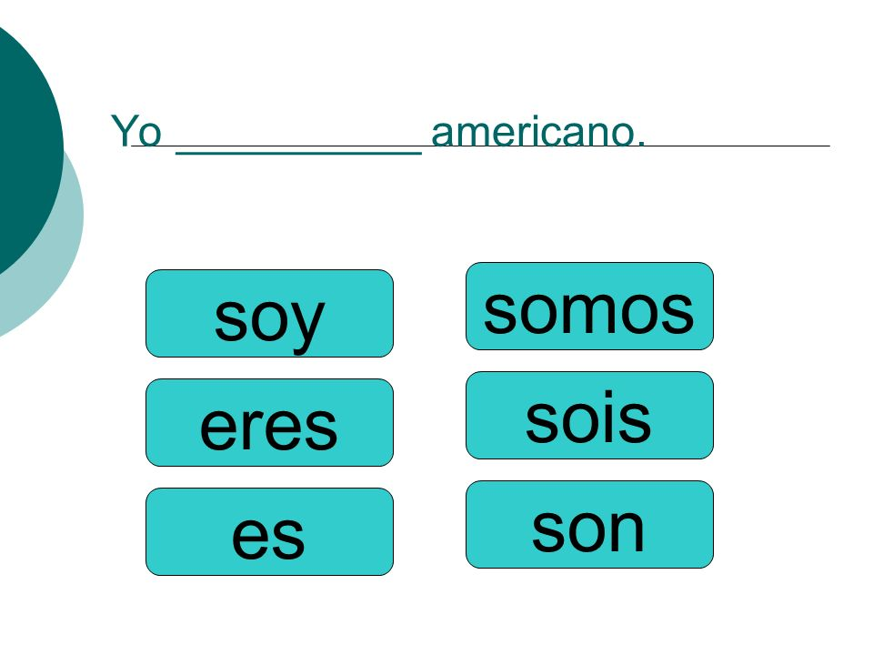 Yo __________ americano.