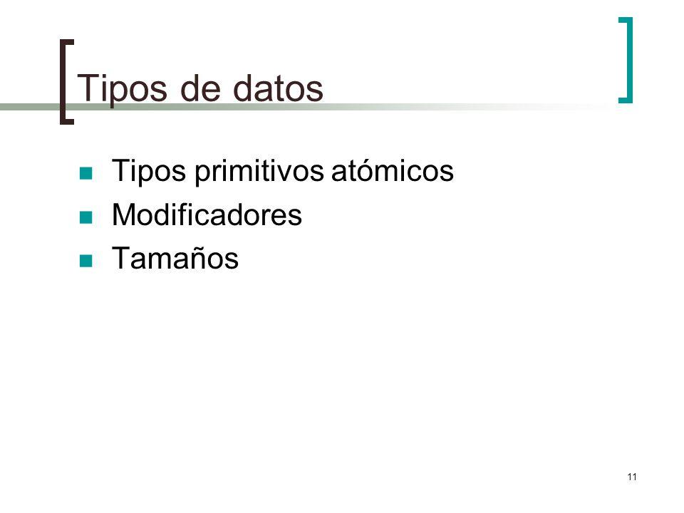 Tipos de datos Tipos primitivos atómicos Modificadores Tamaños