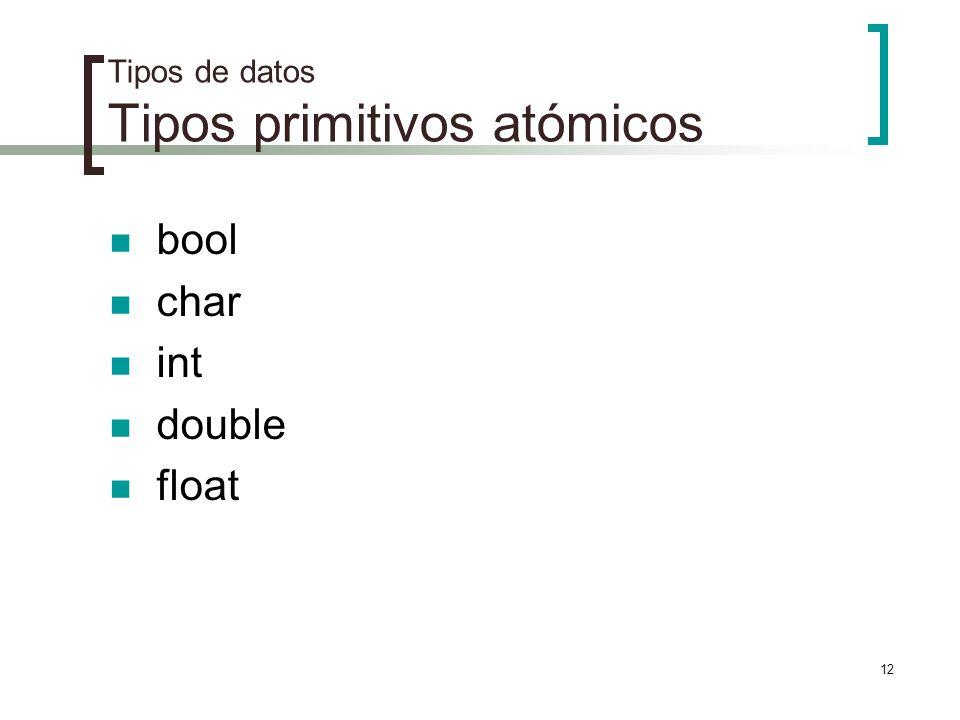 Tipos de datos Tipos primitivos atómicos