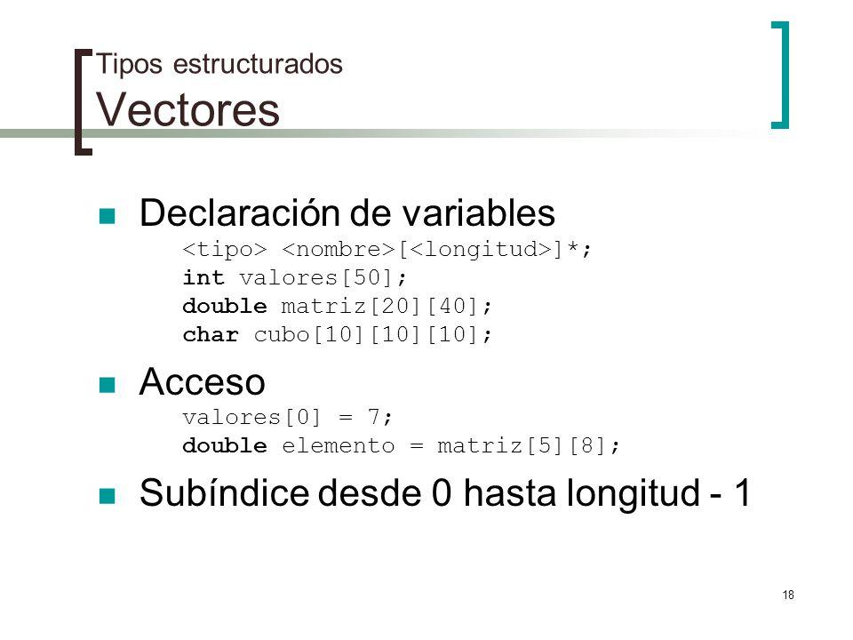 Tipos estructurados Vectores