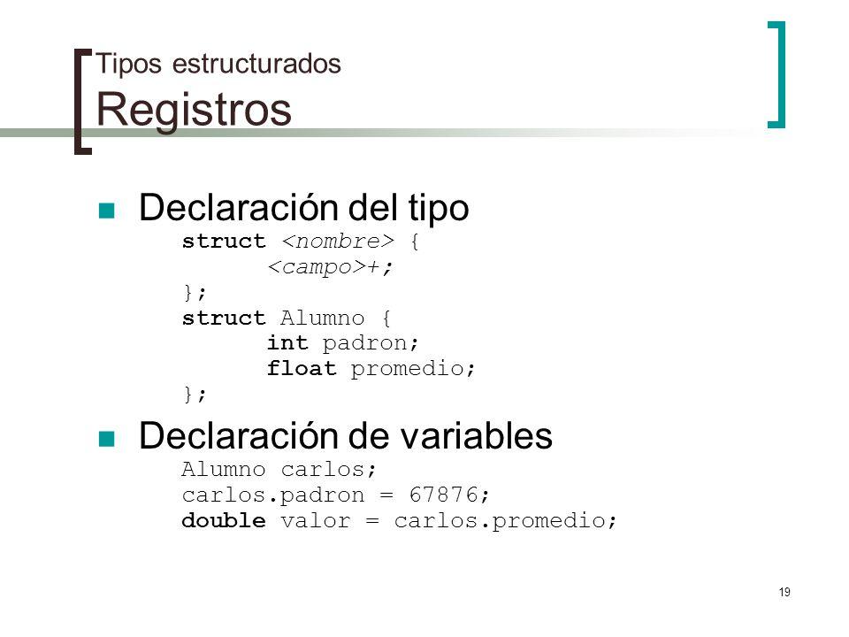 Tipos estructurados Registros