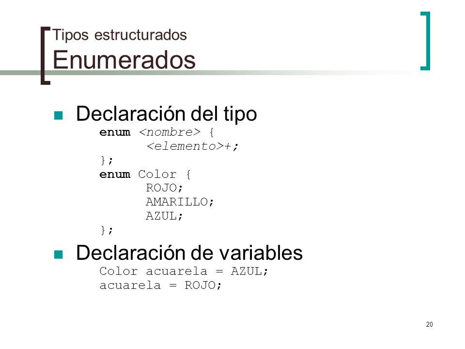Tipos estructurados Enumerados